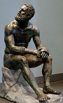 Terme Boxer, is a Hellenistic Greek sculpture dated around 330 B.C. of a sitting boxer