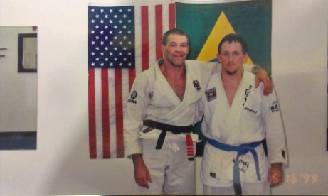 A young blue belt Josh Johnson with Fabio Santos in 1999.